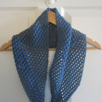 Blue Infinity Scarf - Wool Scarf - Made in Canada - Hand Knit Scarf - Lace Knitted Scarf - Loop Scarf - Cowl - Knit by Hand - Spring Scarf