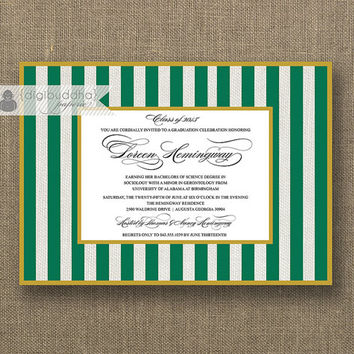 University of Alabama at Birmingham Graduation Invitation Green and Gold Striped Grad Party Graduate Printable Digital or Printed- Loreen