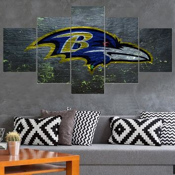 New Baltimore Ravens 5 Panel Canvas Painting Calligraphy Sport Ball Poster Wall Art Painting Modern Home Decor Picture