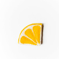 Felt lemon bookmark, yellow, white, summer