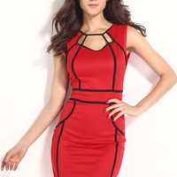 Red Sleeveless Mini Dress with Black Lines Details