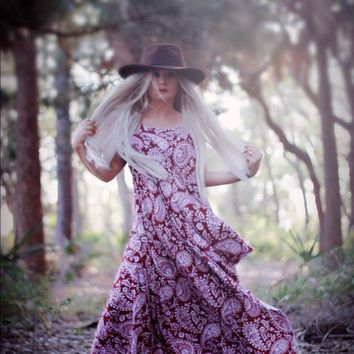 Red Rosa Garden Sundress, Boho chic summer maxi dress, True Rebel Clothing XL Plus