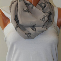 Gray rabbit Scarf Infinity Scarf trend Scarf wedding Gift Her Women Circle Scarf Nordic Scarf Fall Winter Fashion Accessory pashmina