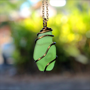 Sea Glass Jewelry made in Hawaii by Mermaid Tears Hawaiian Jewelry, necklace for men