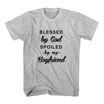 T-Shirt Blessed By God Spoiled By My Boyfriend