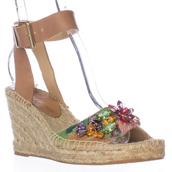 Ivanka Trump Dixi2 Jeweled Espadrille Wedge Sandals - Multi
