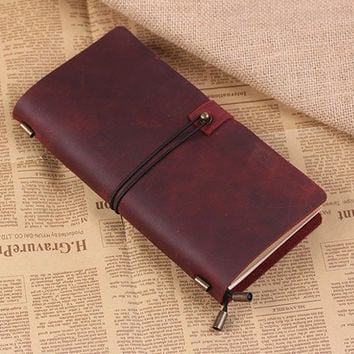 Hand Crafted Vintage Refillable Leather Traveler's Notebook - Leather Journal Notebook - Standard Size