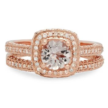 14K Gold Round Cut Morganite & White Diamond Ladies Split Shank Halo Engagement Ring Set