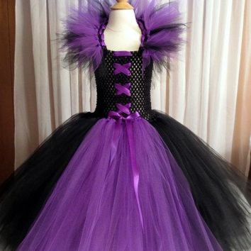 Maleficent Tutu Dress with Matching Horned Headband- Photo Shoot, Costume, Pageant, Halloween, Birthday, Gift, Purple, Black