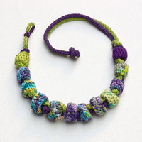 Fiber statement necklace in green purple and blue, rustic jewelry, knit crochet with bamboo beads, OOAK