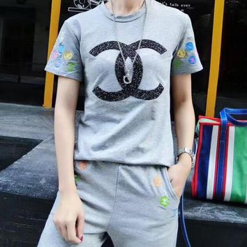 Chanel Fashion Women Embroidery Hot Drilling Logo Short Sleeve Two Piece Grey I11929-1