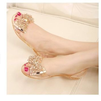 2017 Fashion Melissa jelly Rhinestones Flip flops bow Glitter sandals  women sTransparent flat Single shoes 3a4b2dc60ba3