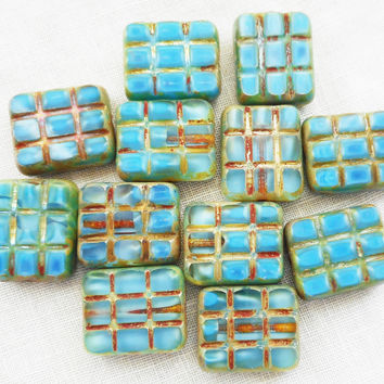 Five large 15 x 13mm turquoise blue picasso, rectangular, table cut, square, carved picasso one hole rectangle beads, Czech glass beads C93101