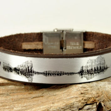 FREE SHIPPING - Men's Personalized Sound Wave Bracelet, Woman Bracelet, Men's Leather Bracelet, Staninless Steel Clasp Bracelet