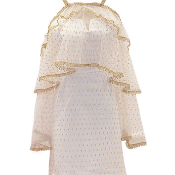 White Sweetheart Shift Mini Dress With Detachable Sheer Mesh Cape