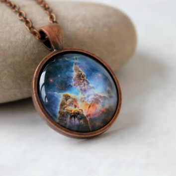 Carina Nebula Necklace, Nebula Pendant, Antique Copper Pendant,Glass Cabochon Pendant With Chain