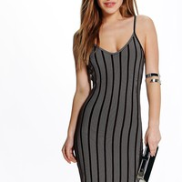 Petite Lydia Vertical Stripe Strappy Bodycon