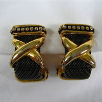 Vintage Black and Gold Earrings