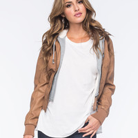 FULL TILT Faux Leather Fur-Lined Womens Bomber Jacket | Jackets