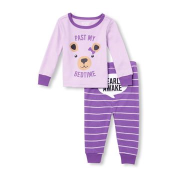 Baby And Toddler Girls Long Sleeve 'Past My Bedtime' Bear Top And Striped Pants Snug-Fit PJ Set