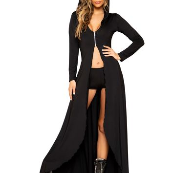 pc Hooded Robe with Zipper Closure and Shorts