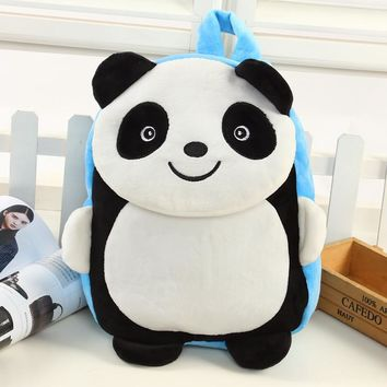 Children's Soft Plush Backpacks Kids Cute Zoo Panda Child Pink Food Storage Bag Baby Shoulders Bags Kindergarten for Gifts