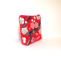 Zipper Pouch  Wallet  Cosmetic Pouch  Pink and White Cherry Blossoms on Red