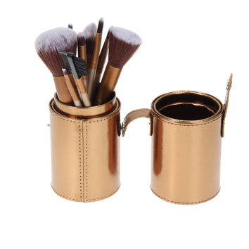 New Empty Portable Travel PU Leather Makeup Brush Round Pen Holder Makeup Organizer Container Cosmetic Storage Boxes Gold