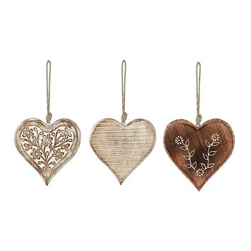 Whitewashed Wood Heart Ornaments - 3 Styles