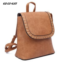 GZ-LY-GJT Fashion Backpack Women Genuine Leather  School Bags For Girls Handle Solid Backpacks Rivet Travel Daypack Mochila
