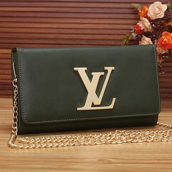 LV Women Shopping Leather Chain Satchel Shoulder Bag Crossbody