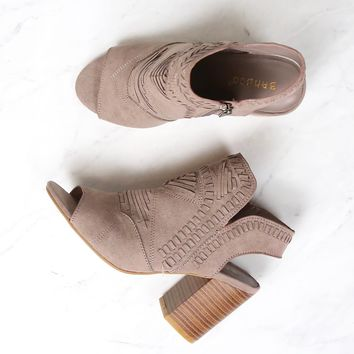 topstitch woven peep toe boho chic stacked chunky heel booties - taupe
