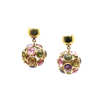 Tresor Collection - Multicolor Tourmaline Origami Sphere Ball  Earring in 18K Yellow Gold