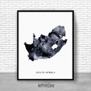 South Africa Print, Travel Map, South Africa Map Art, Travel Decor, Travel Prints, Living Room Wall Art, Office Pictures, Art Print Zone