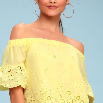 Sun Seeker Yellow Eyelet Off-the-Shoulder Top