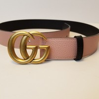 Gucci Marmont Pink Textured Leather Belt Brass GG Hardware NEW! 75 / 30