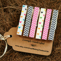 Valentines Day Chevron Clothespin - Set of 6 tiny decorative clips
