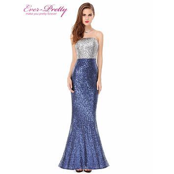 Prom Dresses Ever Pretty Sexy Women Strapless Sequins Long Prom Dresses 2017 HE08372 Special Occasion Dresses