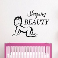 Wall Decals Vinyl Decal Sticker Interior Design Home Mural Art Quote Sleeping Beauty Girl Kids Nursery Baby Room Bedding Decor