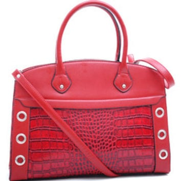 Dasein Grommet Croc Satchel with Shoulder Strap