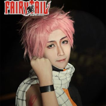 Fairy Tail Natsu Dragneel wig 30cm Short Straight Wig for Man Women Unisex Costume Cosplay Wig Pink Hollween Christmas Party