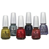 LOT of 6 China Glaze Nail Polish EYE CANDY 3D GLITTERS Collection .5 oz Lacquer