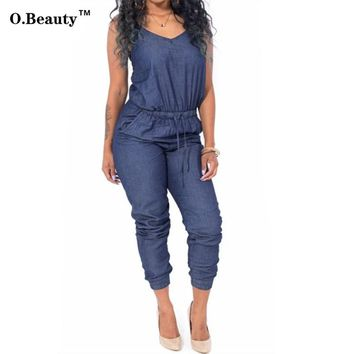 2017 Rompers Womens Jumpsuit Denim Bodysuit Summer Style Overalls Sexy Club Party Long Bodycon Bodysuit  Clubewear Playsuit