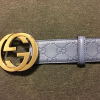 GUCCI Men's Classic Blue Guccissima Leather Belt w/Interlocking GG Buckle ITALY