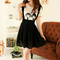Women Chiffon Flared Skirt With Suspenders Braces Pastel Elastic Waist Solid Skirts New SM6