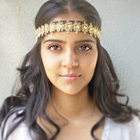 Gold Bohemian Rhinestone Hippie Headband Womens Hair Accessories