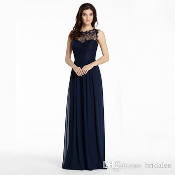 Navy Blue Bridesmaid Dresses 2017 Sheer Neck Lace Hollow Back Chiffon Plus Size Maid Of Honor Dress for Wedding 11231451