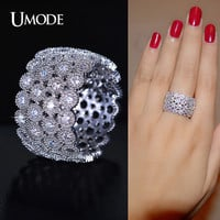 UMODE Phoebe Series 4 Rows of Circles Connected Micro CZ Half Round Inlaid Band Ring Rhodium Color Jewelry For Women UR0176B