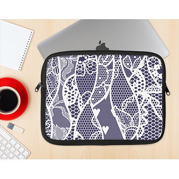 The Dark Blue & White Lace Design Ink-Fuzed NeoPrene MacBook Laptop Sleeve