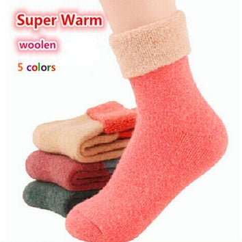 Free Shipping 2017 Winter socks cashmere women's wool socks thermal thicken winter socks towel hemming warm socks 5 pairs